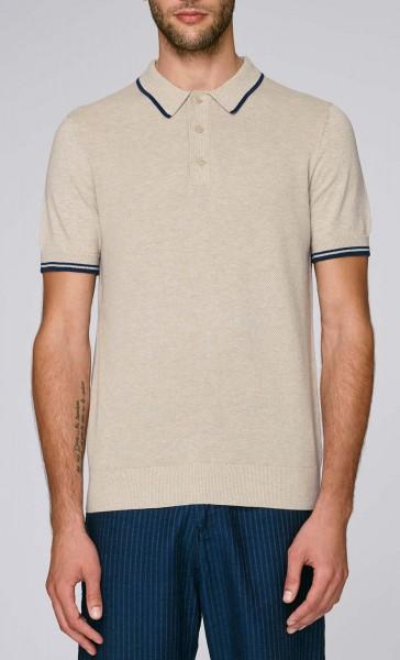 Buzzes - Strick-Poloshirt aus Bio-Baumwolle - mid heather beige - Bild 1