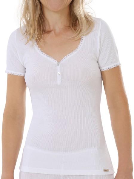 Doppelripp Shirt Fairtrade weiss Spitze 1-15-2788