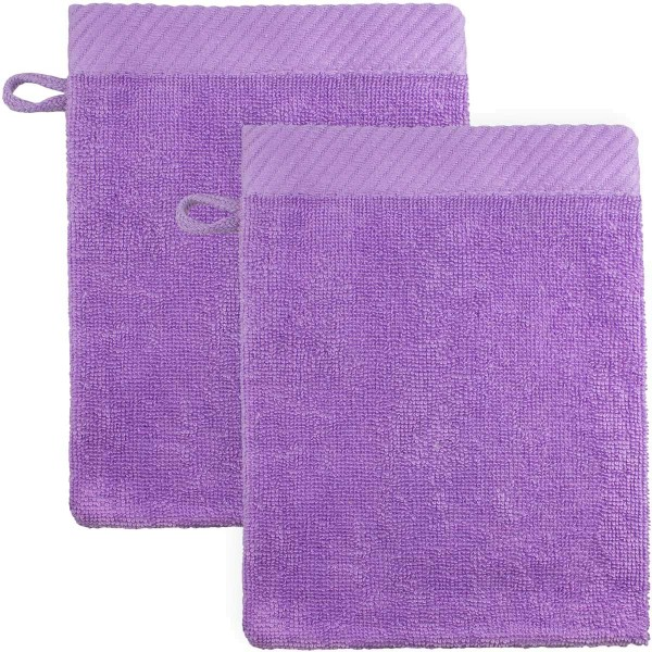 Waschhandschuhe aus Bio-Baumwolle 21x15cm - lila - 2er-Pack