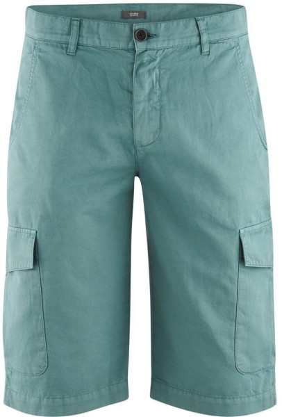 Bermuda-Shorts aus Bio-Baumwolle und Bio-Leinen - teal