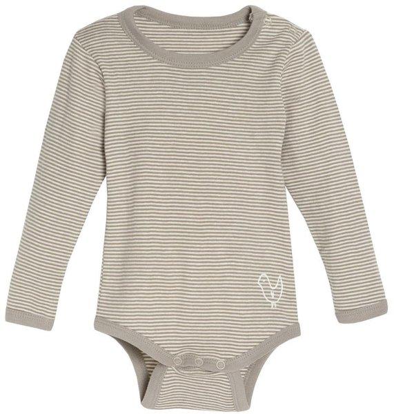 Baby Langarm-Body aus Bio-Baumwolle - natur-taupe gestreift