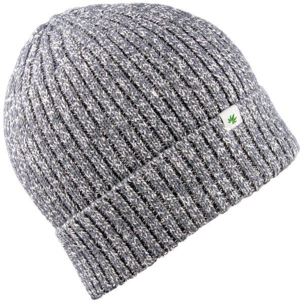 Dicke Wintermütze aus Hanf und Bio-Baumwolle - melange grey - Bild 1