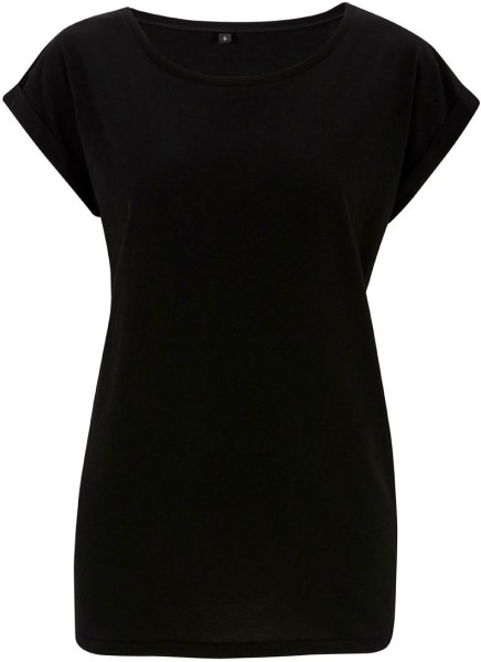Rolled Sleeve Tunic T-Shirt schwarz