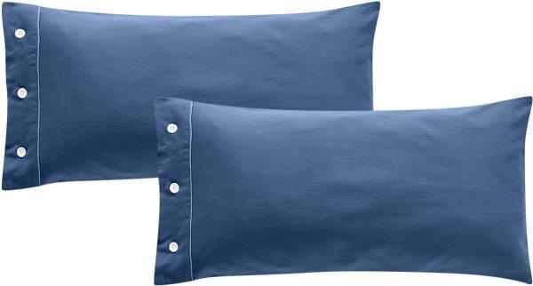 Satin-Kopfkissenbezug aus Bio-Baumwolle 40x80cm - shadow blue