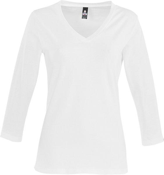 3/4-Shirt mit V-Ausschnitt - weiss - Bild 1