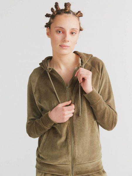 Nicki-Kapuzenjacke aus Bio-Baumwolle - oliv