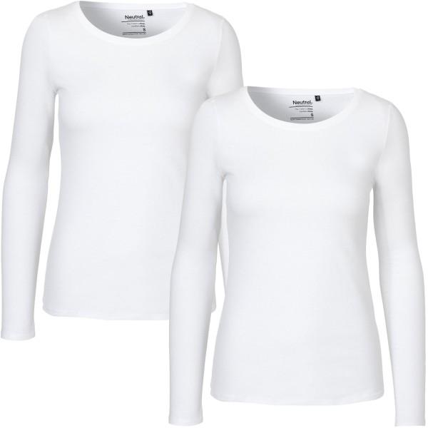 Damen Longsleeve Shirt weiss Doppelpack GOTS