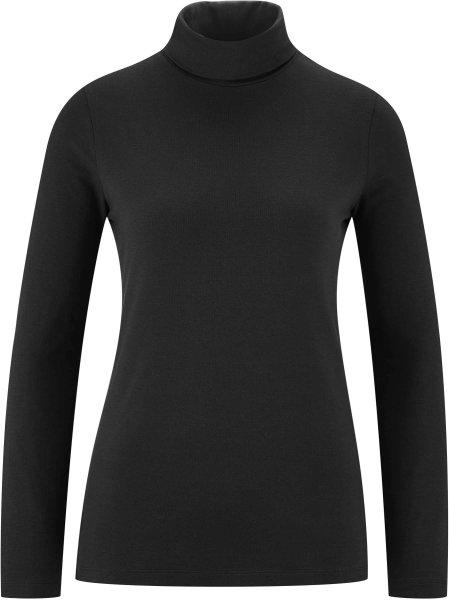 Rollkragen-Langarmshirt aus Bio-Baumwolle - black