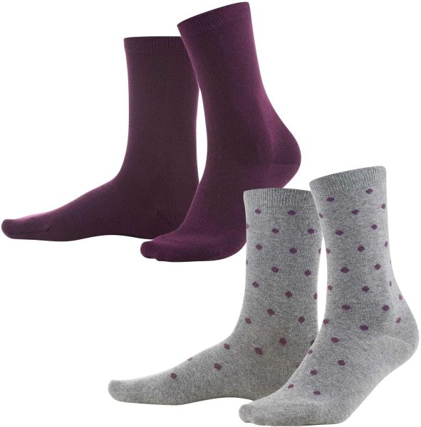 Damen Socken aus Bio-Baumwolle - Doppelpack - dark prune/dots - Bild 1