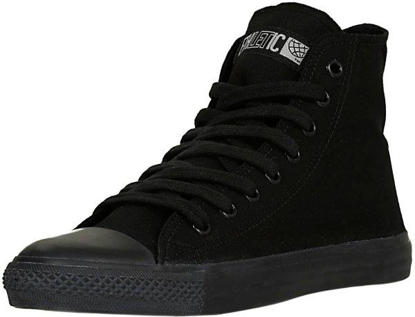 Bio-Sneaker all black mit schwarzen Schnürsenkeln, schwarzer Sohle und Kappe
