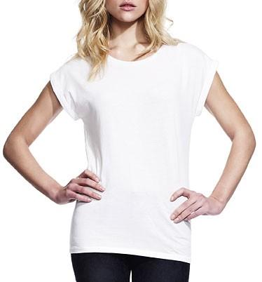 Bamboo Rolled Sleeve T-Shirt weiss - Bild 1