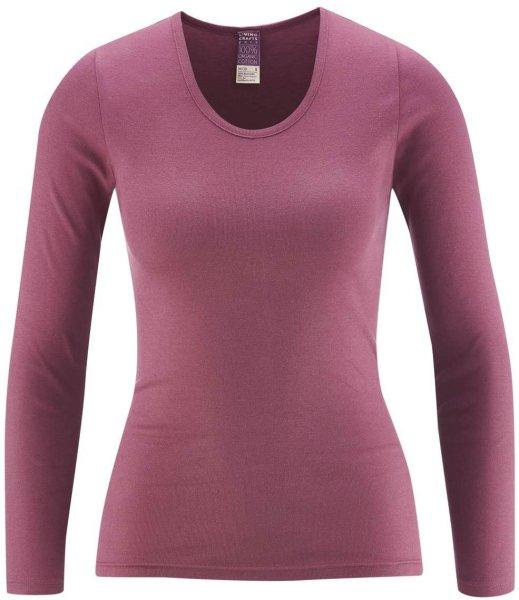 Langarm Frauen-Unterhemd - Biobaumwolle dark rose