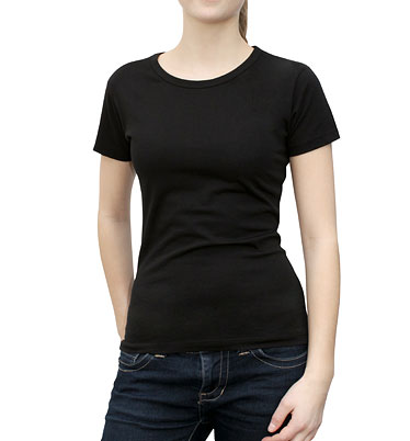 schwarzes t shirt aus reiner baumwolle basicshirt damen. Black Bedroom Furniture Sets. Home Design Ideas
