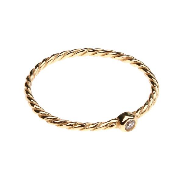 Ring mit Zirkonia – vergoldet