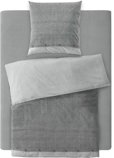 Flanell-Bettwäsche-Set aus Bio-Baumwolle 155x220cm - grey bicolour