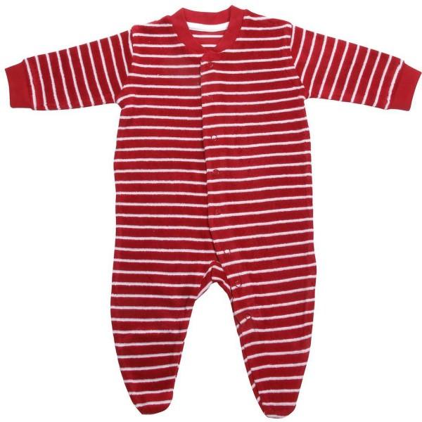 Baby Schlafanzug aus Bio-Baumwolle - rot-natur