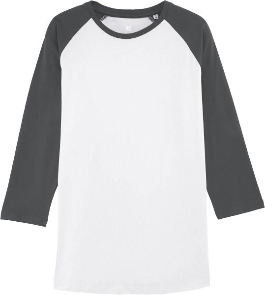 Retro-Shirt aus Biobaumwolle - white/anthracite