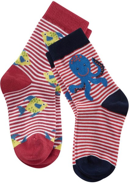 Kinder-Socken Bio-Baumwolle - poppy/white