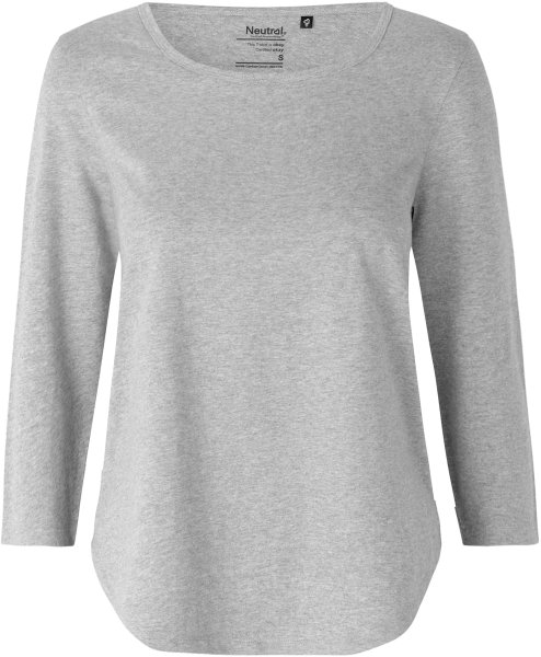 3/4 Sleeve T-Shirt aus Fairtrade Bio-Baumwolle - grau meliert