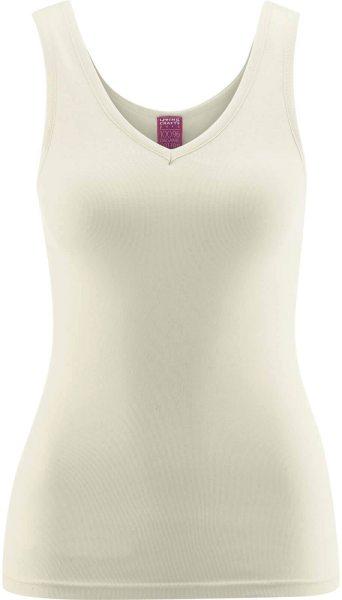 Hemd ohne Arm mit V-Ausschnitt - Biobaumwolle natur