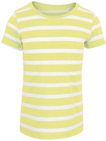 Kinder T-Shirt - Mini Lines - Ringelshirt aus Biobaumwolle - white-sunny lime