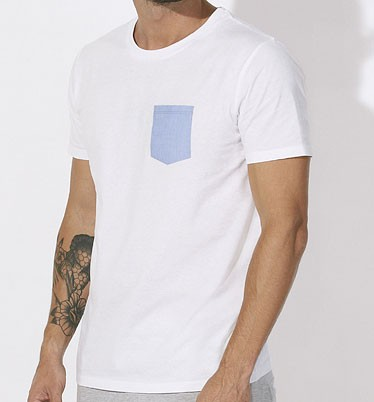 Leads Pocket - Kurzarmshirt aus Biobaumwolle - white/blue - Bild 1