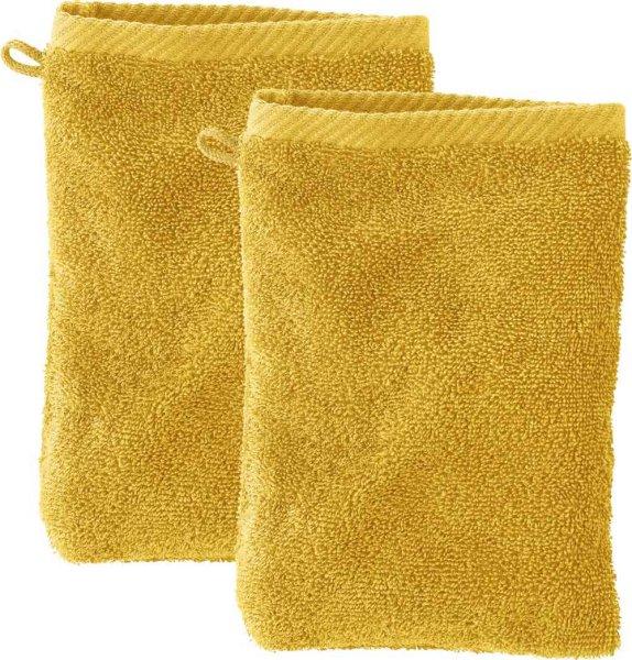 Doppelpack Waschhandschuhe aus Bio-Baumwolle - curry