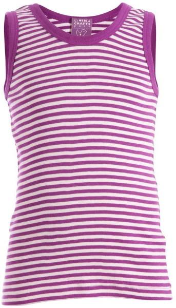 Kinder Unterhemd aus Bio-Baumwolle - purple/natural striped - Bild 1