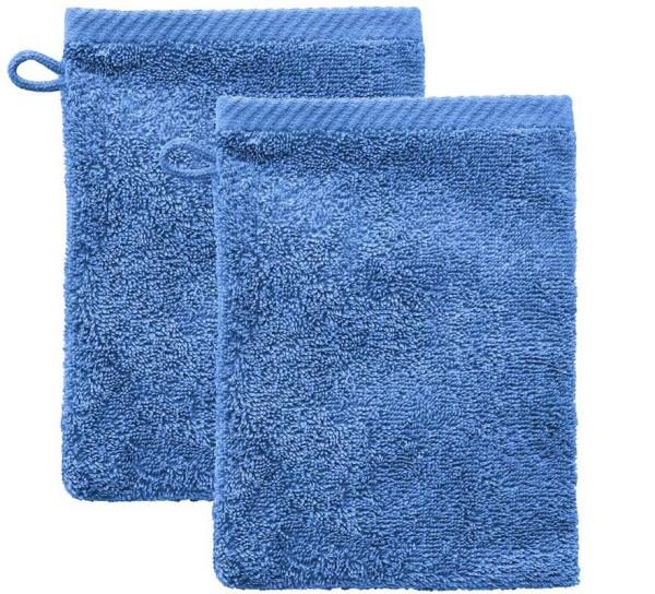 Doppelpack Waschhandschuhe Biobaumwolle – azur