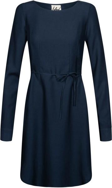 Langarm-Kleid aus Tencel und Leinen - dunkelblau