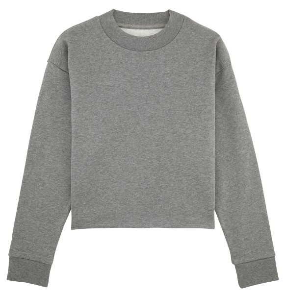 Kurzes Sweatshirt Bio-Baumwolle - mid heather grey