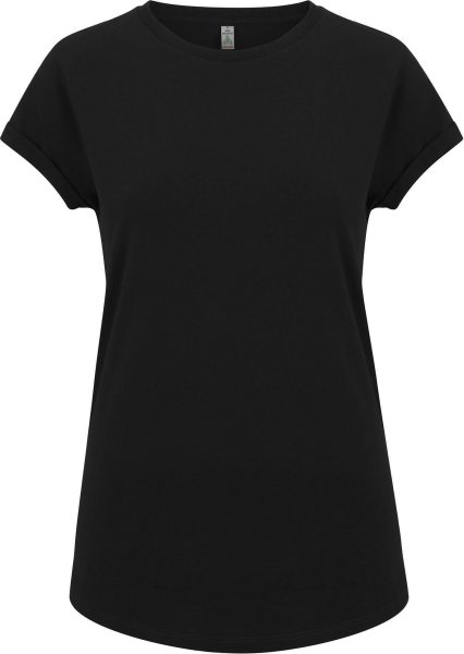 Recycled Rolled Sleeve T-Shirt - black