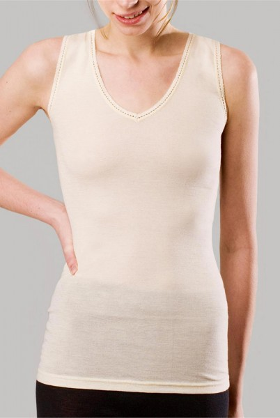Hemd ohne Arm - V-Ausschnitt/Spitze - Wolle/Seide natur - Bild 1