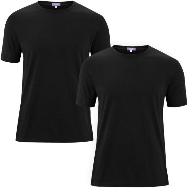 Basic T-Shirt aus Bio-Baumwolle - Doppelpack - black
