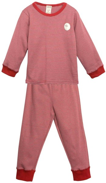 Kinder Schlafanzug aus Bio-Baumwolle - rot-dunkelgrau - Bild 1