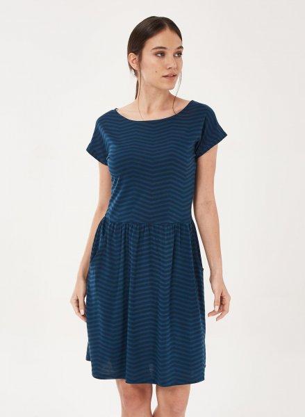 Kurzarm-Kleid aus Tencel und Bio-Baumwolle - navy