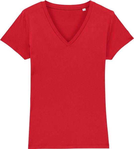 T-Shirt mit V-Ausschnitt aus Bio-Baumwolle - red