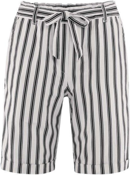 Bermuda-Shorts aus Bio-Leinen und Bio-Baumwolle - offwhite/black