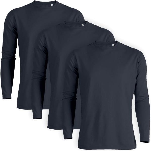 Shuffles - Langarmshirt Bio-Baumwolle - navy 3er-Pack