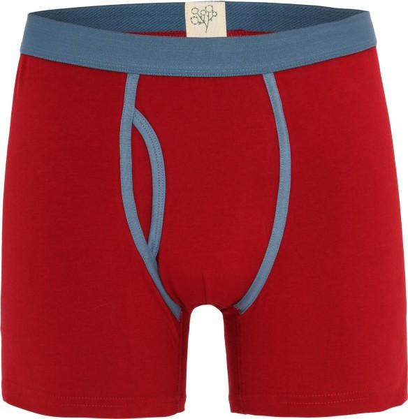 Boxer-Shorts aus Bio-Baumwolle rot mit blauen Kontrastapplikationen