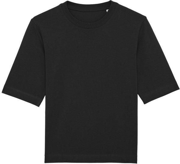 Boxy T-Shirt aus schwerem Stoff aus Bio-Baumwolle - black