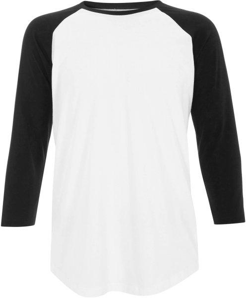 Retro ¾ Sleeve Baseball Shirt weiss-schwarz