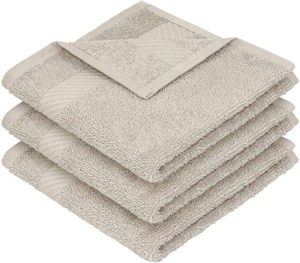 Handtuch aus Bio-Baumwolle 3er-Pack - 30x30 beige - Bild 1