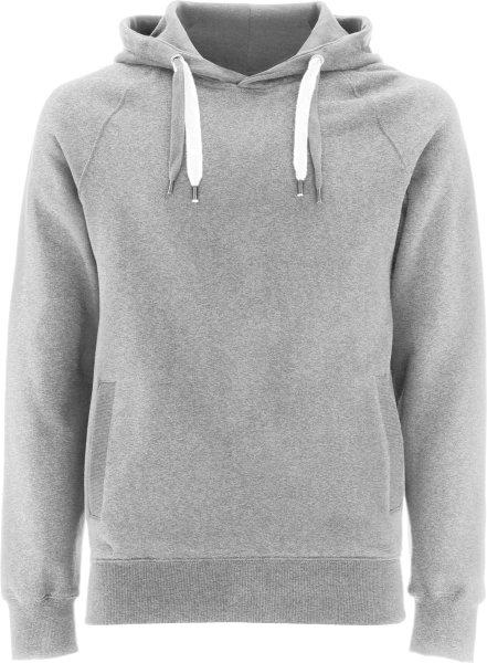 Unisex Biobaumwoll Pullover Hoody mit Seitentaschen - grau-meliert