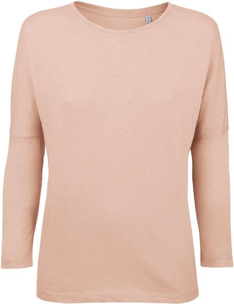 Damen Dreiviertel Arm Shirt faded nude Bio-Baumwolle