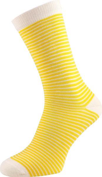Geringelte Unisex-Strümpfe aus Biobaumwolle, gelb-natur