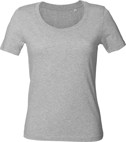 Rundhals T-Shirt aus Bio-Baumwolle - grau meliert