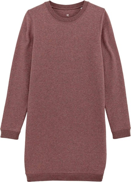 Sweatshirt-Kleid aus Bio-Baumwolle - black heather cranberry