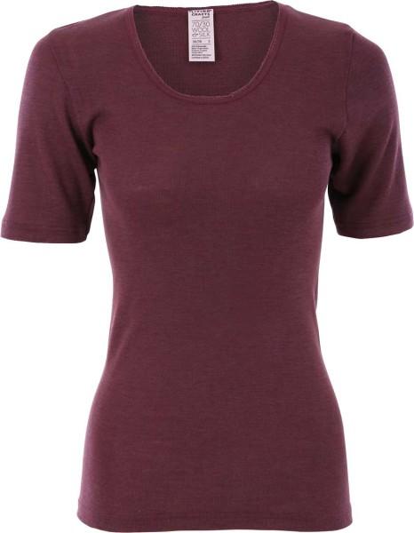 1/4-Arm-Hemd mit Spitze - Wolle/Seide dark rose