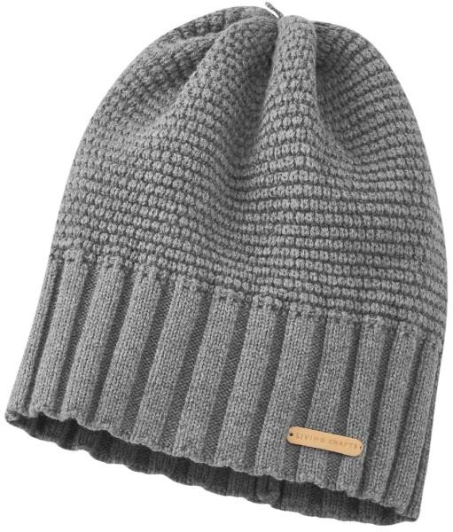 Mütze Strick grau meliert Biobauwolle Bio-Wolle